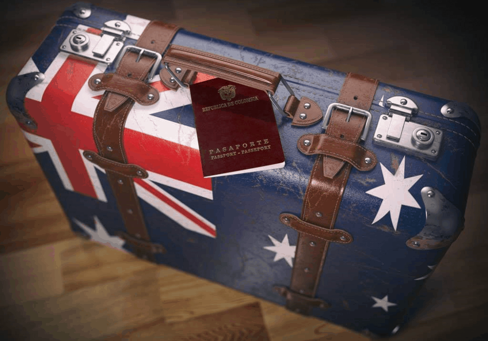 Australia maleta y Colombia pasaporte