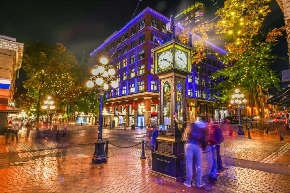 Reloj de Vapor Histórico en el barrio de Gastown, Vancouver